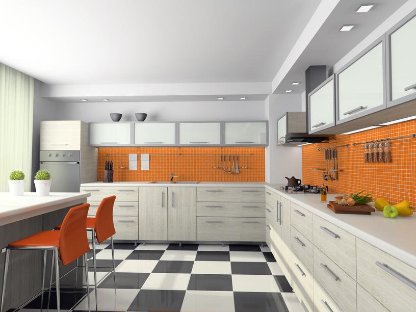 101 modern custom luxury kitchen designs photo gallery for Orange and white kitchen designs