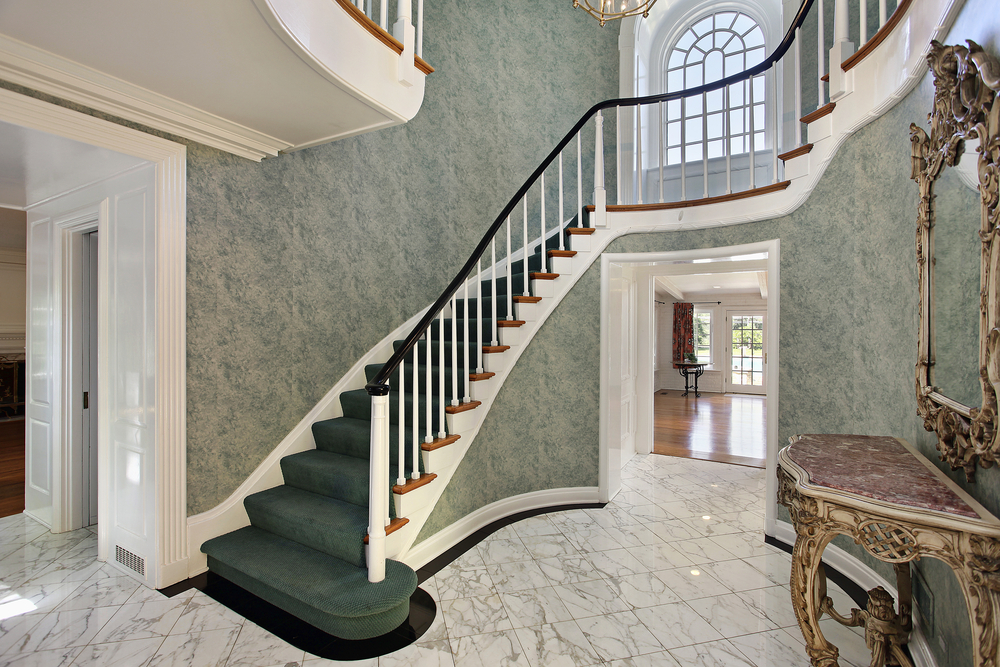 45 custom luxury foyer interior designs grand entrance for Round staircase designs interior